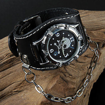 Fashion Punk  Adjustable Leather Wristband Cuff Watch Bracelet  - Great for Men, Women, Teens, Boys, Girls 2748s