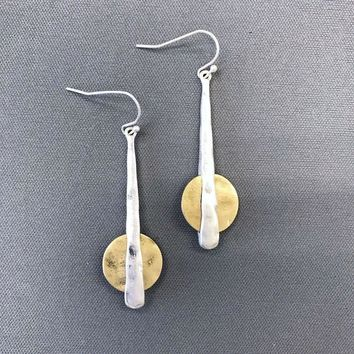 Silver Finished Bar Gold Color Circle Shape Hammered Drop Dangle Hook Earrings
