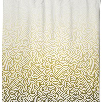 Gradient yellow and white swirls doodles Shower Curtain