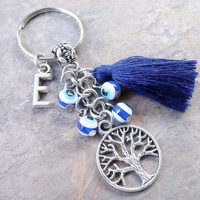 Tree of life keyring, keychain, bag charm, purse charm, monogram personalized custom gifts item No.915