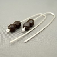 Chocolate Brown Sterling Silver Czech Glass Dangle Earrings | The Silver Forge Handcrafted Jewellery