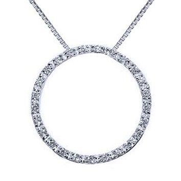"""1.00 Carat Diamond Sterling Silver Circle of Life Pendant Necklace 18"""""""