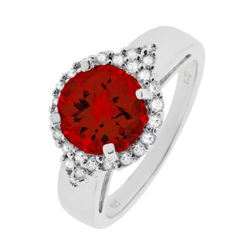 8mm Round Ruby and White Topaz Halo Sterling Silver Ring Size 7