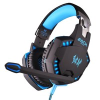 SmartBB(TM) EACH G2100 Blue Vibration Function Professional Gaming Headphone Games Headset with Mic Stereo Bass LED Light for PC Gamer(black blue)