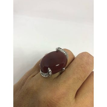 Vintage Genuine Red Carnelian 925 Sterling Silver Statement Ring
