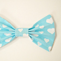 White Hearts Kawaii Hair Bow Barrette Pastel Aqua Blue