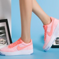 Originals Nike Air Force One 1 Flyknit Low Orange / White Women Running Sport Casual Shoes '07 817420-100 Sneakers