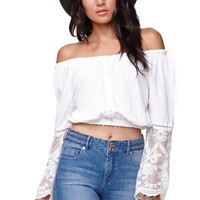 Kendall & Kylie Bell Sleeve Bubble Top - Womens Shirts - White -