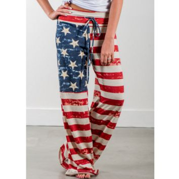 Fashion Red Stripe Printed High-Waist Baggy Slacks Loose Pants
