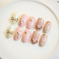 Japanese Cute metal bowknot 22pcs/Set false nails kit with glue french false nails short Cute Japanese fake nails acrylic Bride middle-long size full design nail tips fashion false nails set Nail art tool hand makeup (Color: Multicolor) = 1929739588