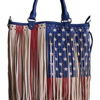 Womens Concealed Carry Purse in Red White and Blue American Flag Fringe (Large Flag)