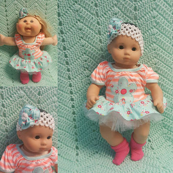 "Baby Doll Clothes ""Big Blue Blossom"" (15 inch) doll outfit Will fit Bitty Baby® Bitty Twins®  dress shorts socks headband K12"