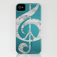 iPhone Case, 5, 4S, 4, 3GS, Music & Peace Aqua Sheets, Protective, Sleek, Aqua, Turquoise, Black, White, Gray, Glee