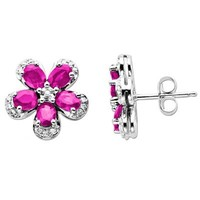 Pear-Shaped Lab-Created Pink Sapphire and 1/10 CT. T.W. Diamond Flower Stud Earrings in 14K White Gold