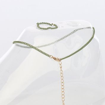 Olive Green Chain Toe Ring And Anklet Set