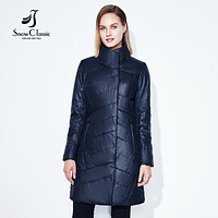 Women Jacket Spring Slim Thin Coat Solid Long Parka Warm Coats Outerwear Zipper Snow Classic