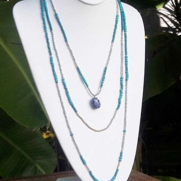 Triple Layered Turquoise Necklace-In Stock