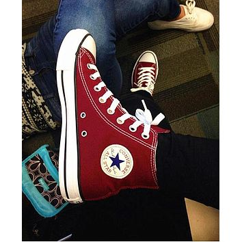 """""""Converse"""" Wine red Fashion Canvas Flats Sneakers Sport Shoes High tops"""