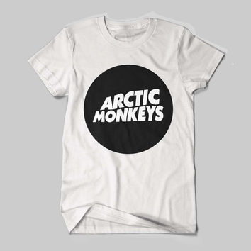 Arctic Monkeys English Indie Rock Band Tour Dates Circle Logo T-Shirt Black and White Shirt Men or Women Shirt Unisex Size