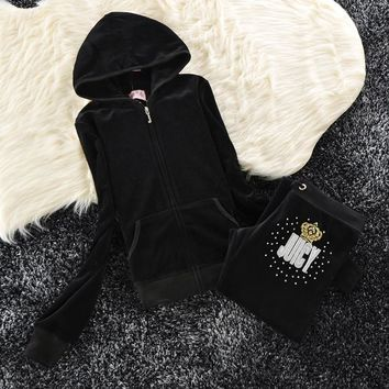 Juicy Couture Sequin Crown Logo Velour Tracksuit 6008 2pcs Women Suits Black