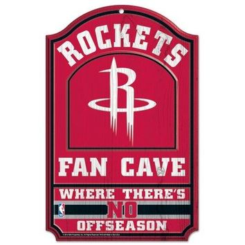 Houston Rockets No Offseason 11x17 Wood Fan Sign
