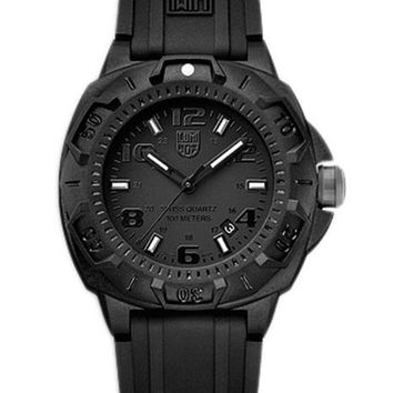 Luminox Mens Sentry Black-Out Watch - Black Dial & Strap - Luminous Hands
