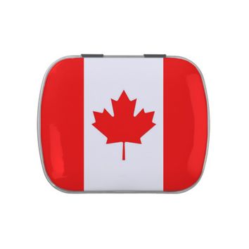 Patriotic candy tins with Flag of Canada