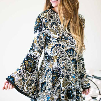 Fixed On Paisley Bell Sleeve Dress