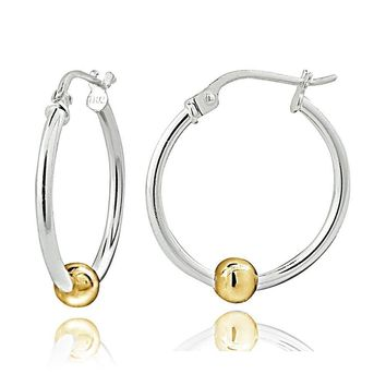 Sterling Silver with Gold Tone Bead Round Hoop Earrings, 20mm