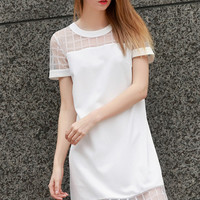 White Short Sleeve Mesh Shift Mini Dress