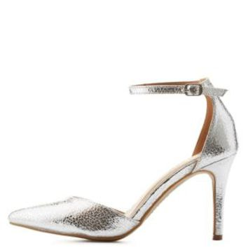 Distressed Metallic Pointed Toe Pumps