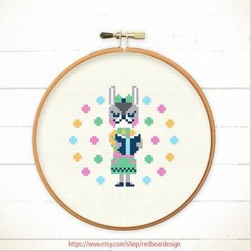 Modern Cross stitch pattern PDF - Rabbit Love Reading - Instant download - READING POWER - Happy Bunny Cheerful Rabbit ,Cute Woodland Animal