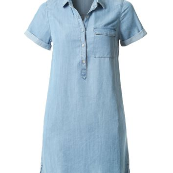 LE3NO Womens Tencel Short Sleeve Half Button Denim Dress with Pockets