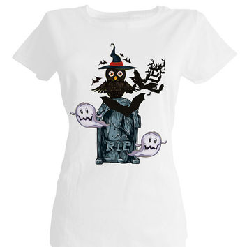 Black Owl women Halloween t shirt,halloween party ideas,girls halloween shirts,halloween tops,kids halloween costumes,halloween t shirts