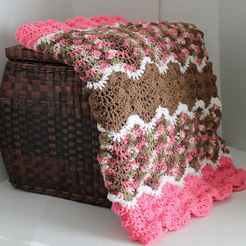 Handmade  Wave Ripple Throw Afghan - Pink, Brown, Pink Camo