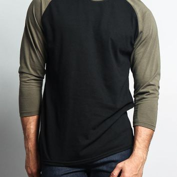 Men's Baseball T-Shirt TS900 (Black/Olive) - B12C