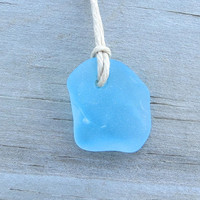 Aqua Blue Sea Glass  Beach  Necklace Surfer