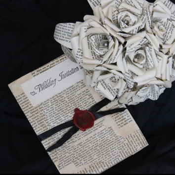 Shakespeare Bridal Paper Rose Book Bouquet by Helmore Boutique, Bibliophile, geek chic, unique wedding accessory, literary book flower
