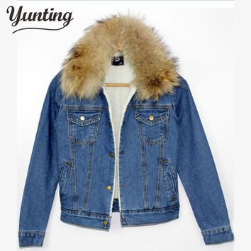 2017 new Autumn winter women's short denim jacket coat slim fur collar cotton denim jeans outerwear