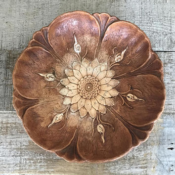 Wood Bowl Resin Flower Bowl Fruit Bowl Rustic Bowl Multi Products Inc. Decorative Bowl Faux Wood Bowl Cottage Chic Decor