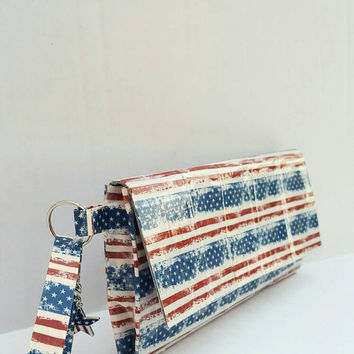 USA Red White & Blue Stars and Stripes American Flag  Wristlet Bag Purse