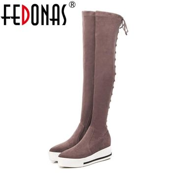 FEDONAS Punk Women Over The Knee High Boots Long Warm Autumn Winter Rivets Night Club Party Shoes Woman Platforms High Boots