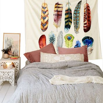 Cilected Hot Sale Colorful Feather Tapestry Printed Simple Style Bedding Wall Hippie Tapestry 148x200cm