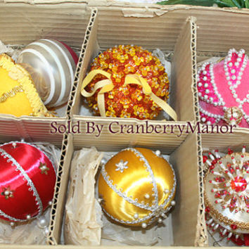 Beaded Christmas Tree Ornaments, Fancy Holiday Home Decor, Vintage Set 6 Bulbs in Original Box in Red Yellow Pink, Winter Decoration PG253