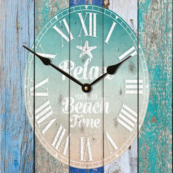 """Relax You're On Beach Time … Rustic Wood Wall Sign Clock (17.5 x 21"""")"""