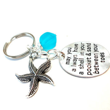 Beach Lover Keychain, Starfish Key Chain, Aqua Blue Glass Key Ring, Wire Wrapped Sea Glass Stone Keychain, Ocean Inspired Car Accessory