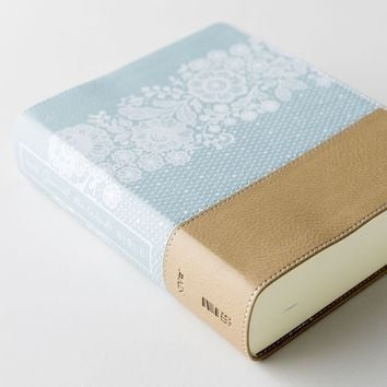 NIV Journal the Word Bible, Large Print - Blue/Tan Floral