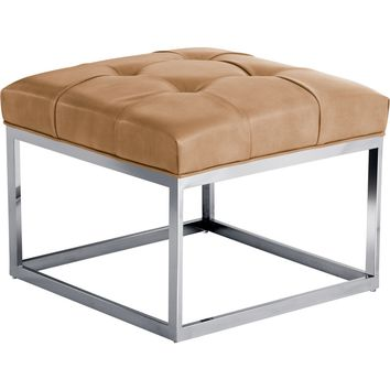 Sutton Square Ottoman Grey Leather Polished Stainless - Small