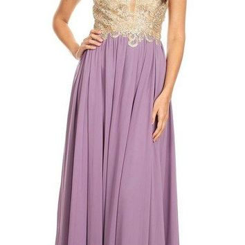 Mauve Lace-Applique Bodice Long Formal Dress Sleeveless