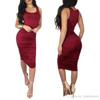 Women Bodycon Sheath Sleeveless Dresses Crew Neck Pleated Knee-Length Summer Dresses Sexy Party Slim Dresses Solid Color Women Clothes